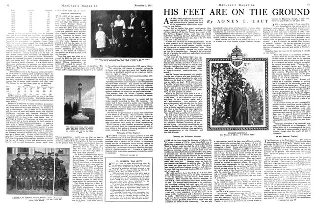 Article Preview: HIS FEET ARE ON THE GROUND, November 1st, 1921 1921 | Maclean's