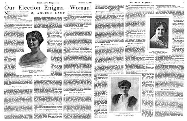 Article Preview: Our Election Enigma — Woman!, Toronto, November 15, 1921 1921 | Maclean's