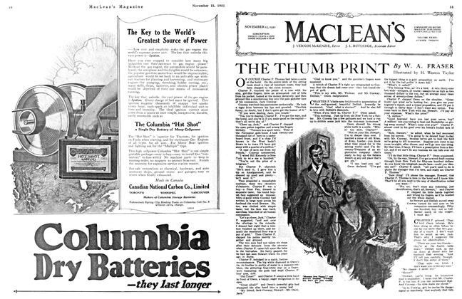 Article Preview: THE THUMB PRINT, Toronto, November 15, 1921 1921 | Maclean's