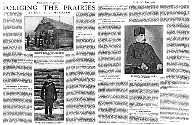 Article Preview: POLICING THE PRAIRIES, Toronto, November 15, 1921 1921 | Maclean's