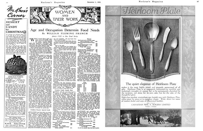 Article Preview: Age and Occupation Determin Food Needs, December 1921 | Maclean's