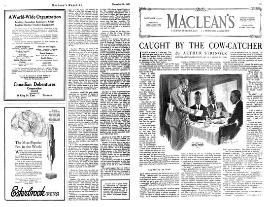 Article Preview: CAUGHT BY THE COW-CATCHER, December 1921 | Maclean's