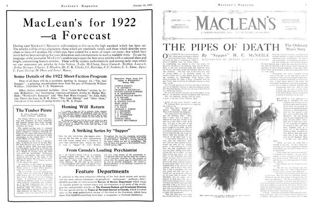 Article Preview: THE PIPES OF DEATH, January 1922 | Maclean's