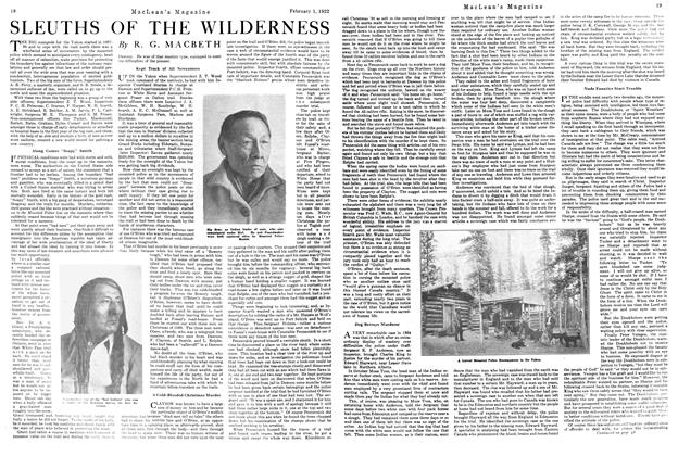 Article Preview: SLEUTHS OF THE WILDERNESS, FEBRUARY 1ST 1922 1922 | Maclean's