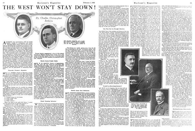 Article Preview: THE WEST WON'T STAY DOWN!, FEBRUARY 1ST 1922 1922 | Maclean's
