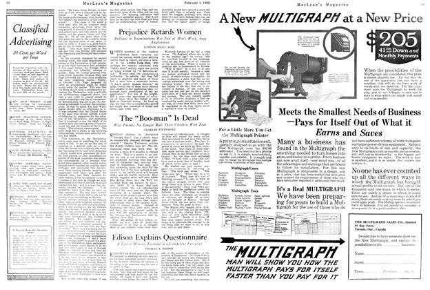 Article Preview: Prejudice Retards Women, FEBRUARY 1ST 1922 1922 | Maclean's