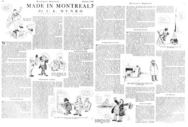 Article Preview: MADE IN MONTREAL?, FEBRUARY 1ST 1922 1922 | Maclean's