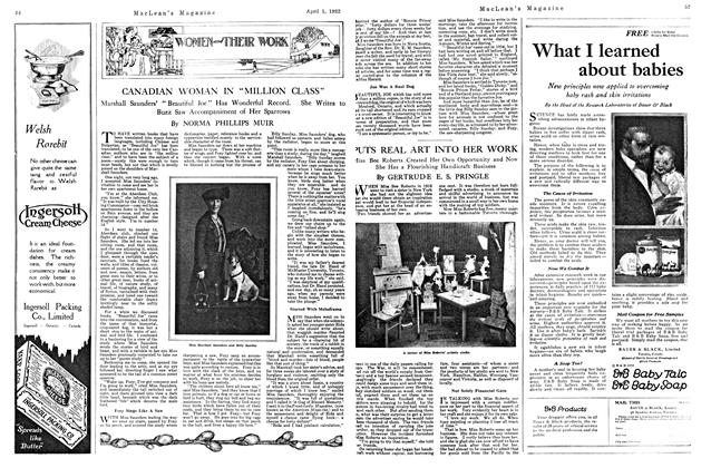 Article Preview: PUTS REAL ART INTO HER WORK, April 1922 | Maclean's