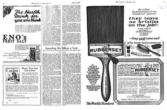 Article Preview: Spending Six Billion a Year, APRIL 15TH 1922 1922 | Maclean's