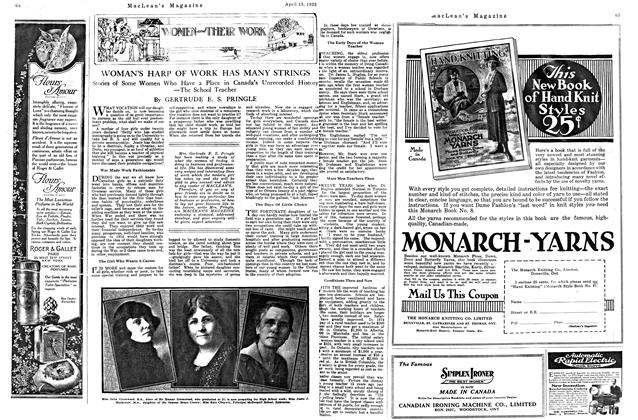 Article Preview: WOMAN'S HARP OF WORK HAS MANY STRINGS, APRIL 15TH 1922 1922 | Maclean's