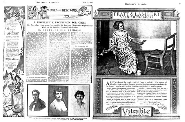 Article Preview: A PROGRESSIVE PROFESSION FOR GIRLS, MAY 15,1922 1922 | Maclean's