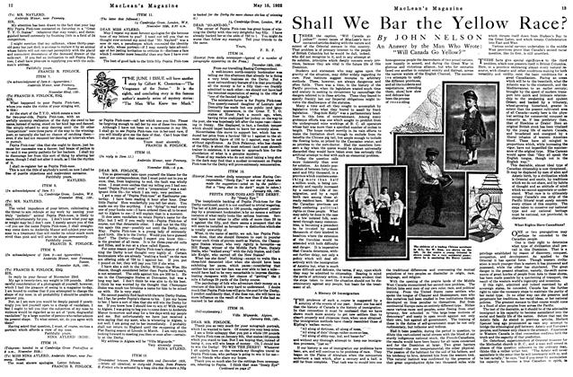 Article Preview: Shall We Bar the Yellow Race?, MAY 15,1922 1922 | Maclean's