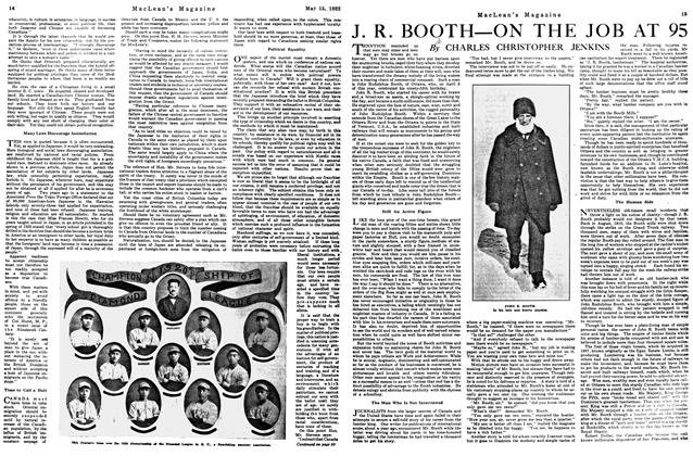 Article Preview: J. R. BOOTH—ON THE JOB AT 95, MAY 15,1922 1922 | Maclean's