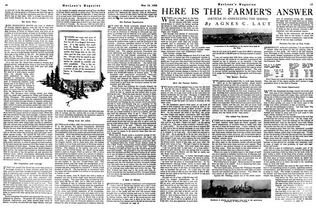 Article Preview: HERE IS THE FARMER'S ANSWER, MAY 15,1922 1922 | Maclean's