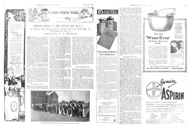 Article Preview: WHAT SHALL I DO WITH MY B. A.?, June 1922 | Maclean's
