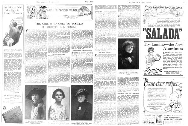 Article Preview: THE GIRL WHO GOES TO BUSINESS, July 1st, 1922 1922 | Maclean's