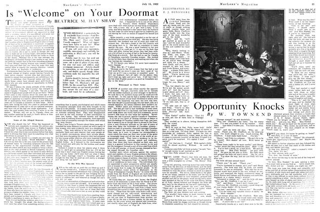 Article Preview: Opportunity Knocks, JULY 15TH 1922 1922 | Maclean's