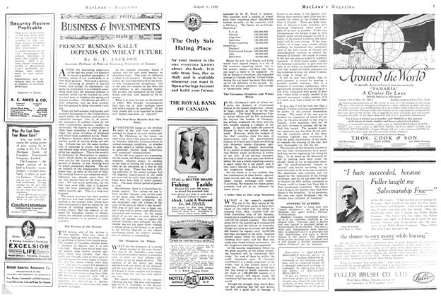 Article Preview: PRESENT BUSINESS RALLY DEPENDS ON WHEAT FUTURE, August 1922 | Maclean's