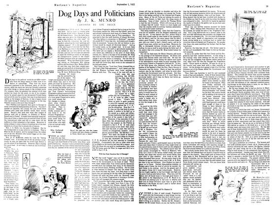 Article Preview: Dog Days and Politicians, September 1st 1922 1922 | Maclean's