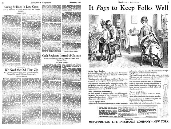 Article Preview: We Need the Old Time Zip, September 1st 1922 1922 | Maclean's