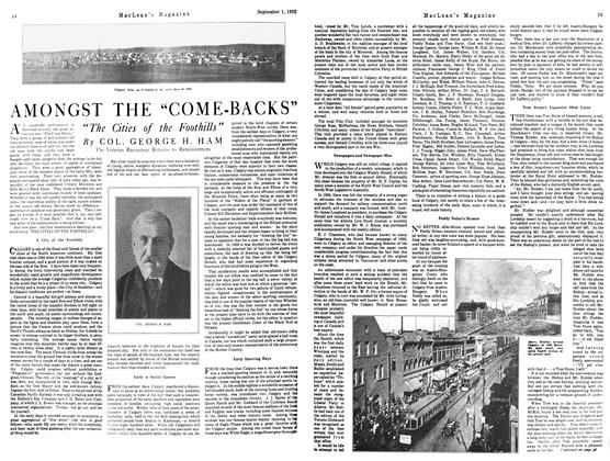 "Article Preview: AMONGST THE ""COME-BACKS"", September 1st 1922 1922 