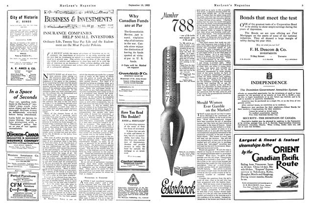 Article Preview: Should Women Ever Gamble on the Market?, September 15th, 1922 1922 | Maclean's
