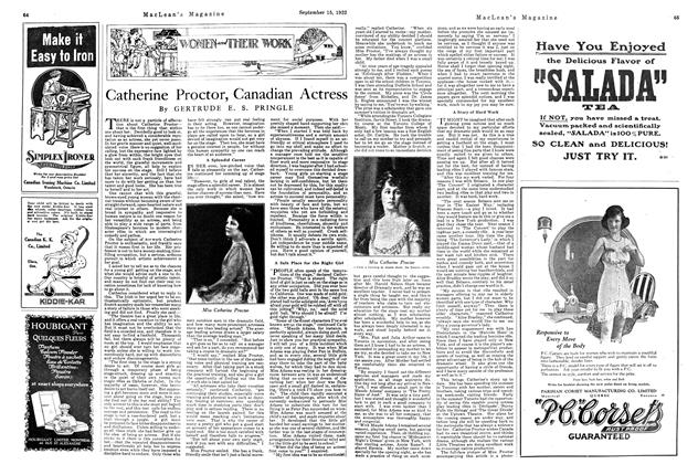 Article Preview: Catherine Proctor, Canadian Actress, September 15th, 1922 1922 | Maclean's
