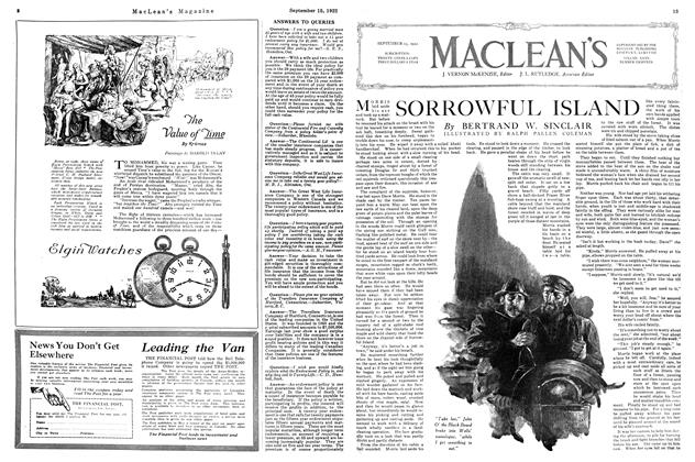 Article Preview: SORROWFUL ISLAND, September 15th, 1922 1922 | Maclean's