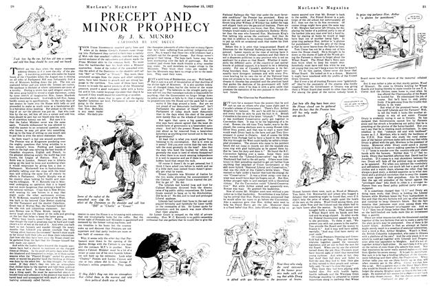 Article Preview: PRECEPT AND MINOR PROPHECY, September 15th, 1922 1922 | Maclean's