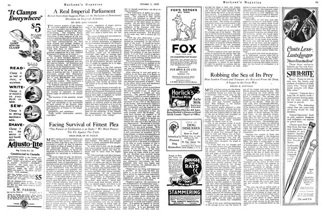Article Preview: Facing Survival of Fittest Plea, OCTOBER 1ST 1922 1922 | Maclean's