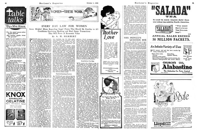 Article Preview: EVERY DAY LAW FOR WOMEN, OCTOBER 1ST 1922 1922 | Maclean's