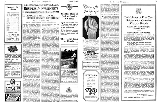 Article Preview: A GRADUAL TREND TOWARD BETTER BUSINESS CONDITIONS, OCTOBER 1ST 1922 1922 | Maclean's