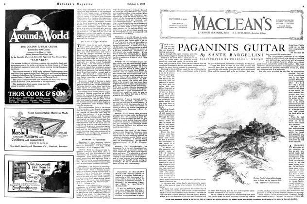 Article Preview: PAGANINI'S GUITAR, OCTOBER 1ST 1922 1922 | Maclean's