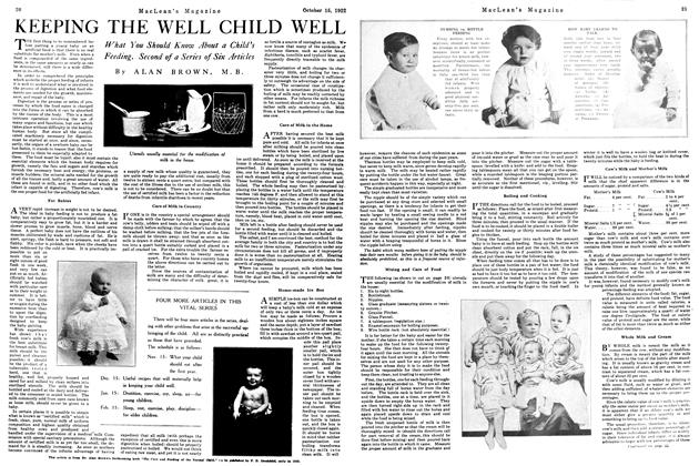 Article Preview: KEEPING THE WELL CHILD WELL, October 1922 | Maclean's