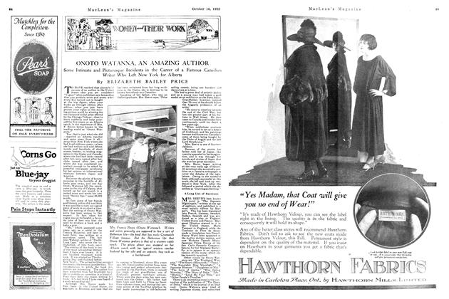 Article Preview: ONOTO WATANNA, AN AMAZING AUTHOR, October 1922   Maclean's