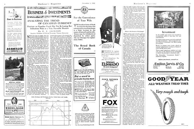 Article Preview: ANALYZING THE TREND OF CANADIAN CURRENCY, November 1st, 1922 1922 | Maclean's
