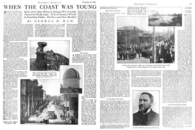 Article Preview: WHEN THE COAST WAS YOUNG, November 1922 | Maclean's