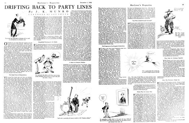Article Preview: DRIFTING BACK TO PARTY LINES, December 1st 1922 1922 | Maclean's