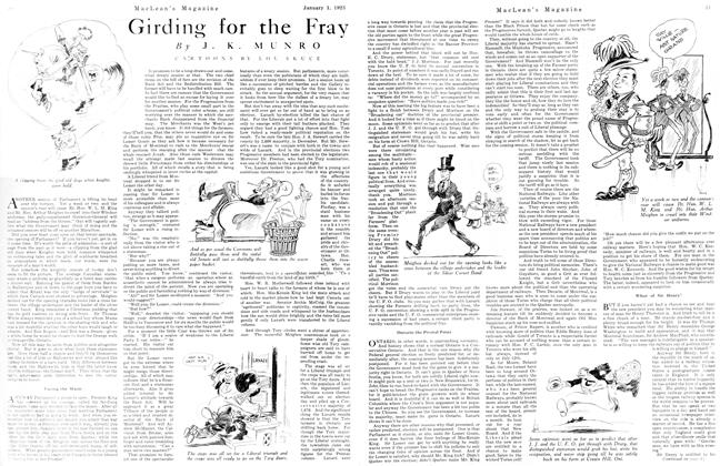 Article Preview: Girding for the Fray, January 1923 | Maclean's