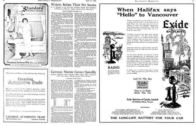 Article Preview: Writers Relate Their Pet Stories, April 1923 | Maclean's