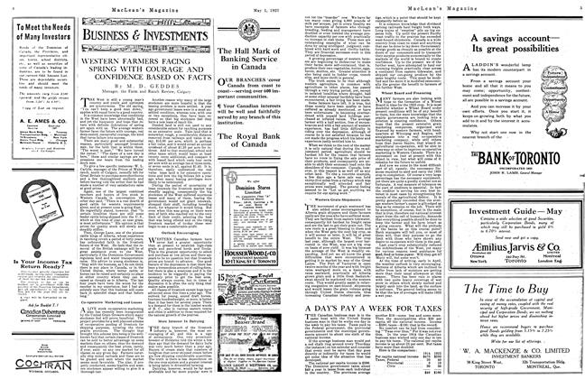 Article Preview: WESTERN FARMERS FACING SPRING WITH COURAGE AND CONFIDENCE BASED ON FACTS, May 1923 | Maclean's