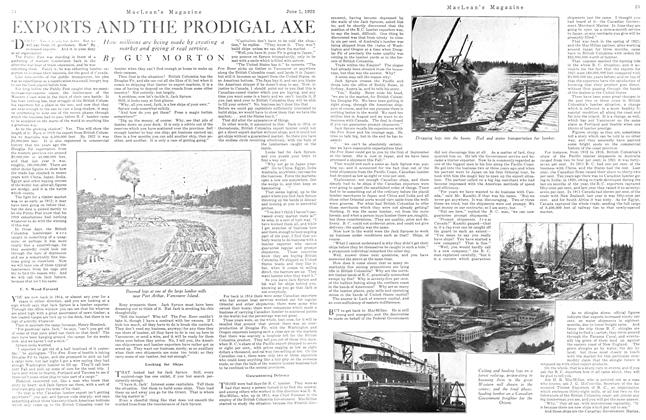 Article Preview: EXPORTS AND THE PRODIGAL AXE, June 1923 | Maclean's