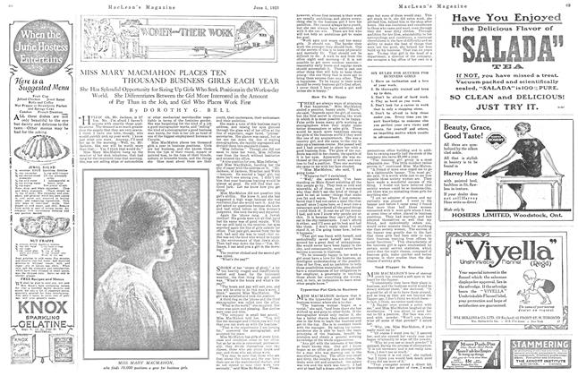 Article Preview: MISS MARY MACMAHON PLACES TEN THOUSAND BUSINESS GIRLS EACH YEAR, June 1923 | Maclean's