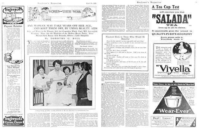 Article Preview: ANY WOMAN MAY TAKE YEARS OFF HER AGE, AND KEEP THEM OFF, BY USING BEAUTY AIDS, June 1923 | Maclean's