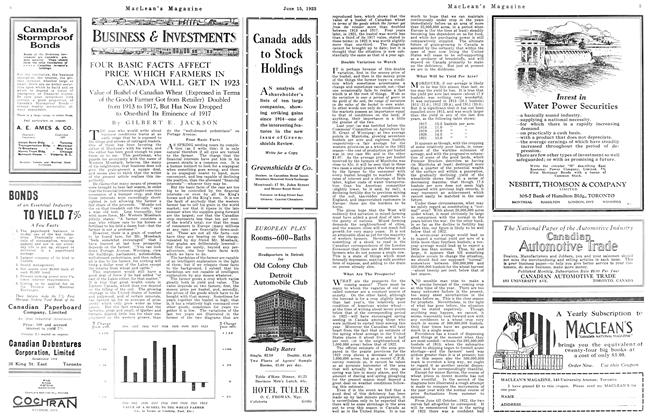 Article Preview: FOUR BASIC FACTS AFFECT PRICE WHICH FARMERS IN CANADA WILL GET IN 1923, June 1923 | Maclean's