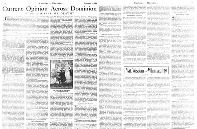 Article Preview: Current Opinion Across Dominion, September 1923 | Maclean's