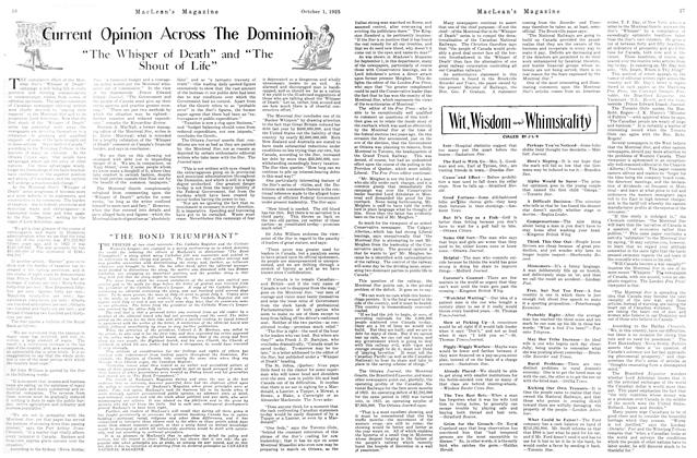 Article Preview: Current Opinion Across The Dominion, October 1923 | Maclean's