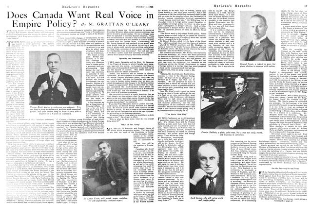Article Preview: Does Canada Want Real Voice in Empire Policy?, October 1923 | Maclean's