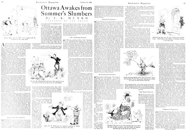 Article Preview: Ottawa Awakes from Summer's Slumbers, October 1923 | Maclean's