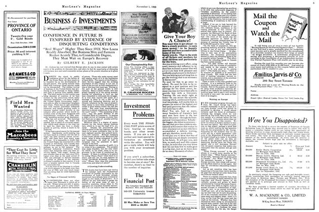 Article Preview: CONFIDENCE IN FUTURE IS TEMPERED BY EVIDENCE OF DISQUIETING CONDITIONS, November 1923 | Maclean's